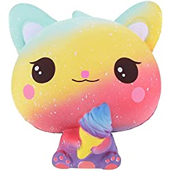 VLAMPO Jumbo Squishies Slow Rising Cat Ice Cream Decoración Squishy Kawaii Stress Relief Toys 5.9 '' (Arco Iris)