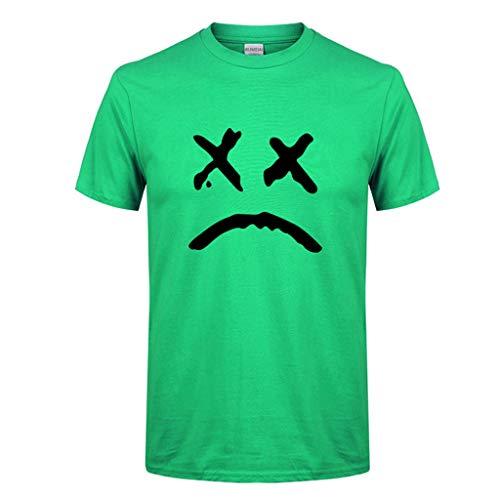 ESAILQ Herren Frühling Sommer Lässige Mode Druck Oansatz Kurzarm Baumwolle T-Shirt(Medium,Grün)