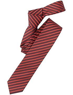 Venti Krawatte Blutorange Grau Gestreift 100% Seide 6cm Breit Schmale Form Fleckenabweisend