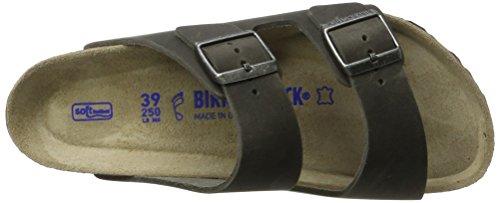 Birkenstock Arizona Leder Softfootbed, Mules Mixte Adulte Schwarz (Artic Old Iron)