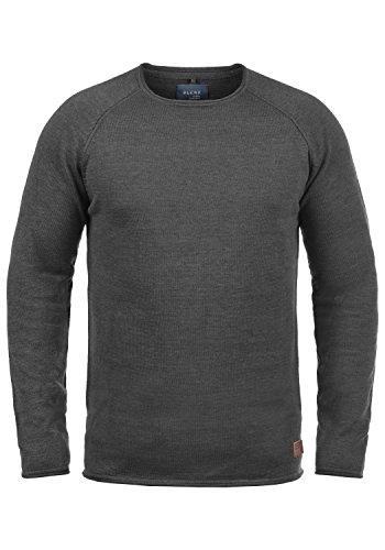 Blend John Herren Strickpullover Feinstrick Pullover Mit Rundhals Und Melierung Aus 100% Baumwolle, Größe:L, Farbe:Charcoal (818)