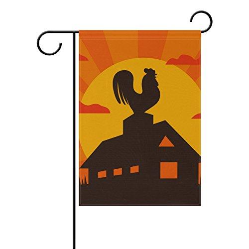 MUMIMI Hahn auf Bauernhof-Motiv, 45,7x 45,7cm, zweiseitig, tolle Bilder Motiv, mehrfarbig, 12x18(in) Americana Hahn