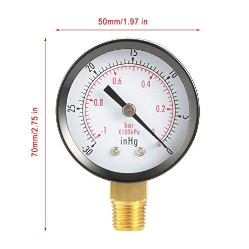 - Manometer Flüssigkeit (ulable Dry Utility Vakuum MANOMETER BLK Stahl 1/10,2cm NPT unten Halterung -30hg/0psi)