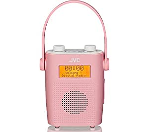 JVC Water-resistant Portable DAB/FM Bathroom Clock Radio - Pink (Alarm & snooze function, Mains and battery powered)