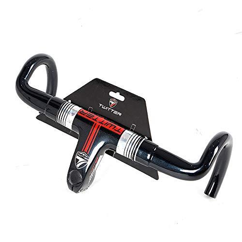 LIDAUTO Rennrad Lenker Carbon Fahrrad Bent Bar Teile Versteckte Linie Loch Design 400mm Geeignet für 28,6 mm Gabel,red -