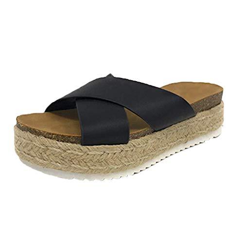 SOLELING ♚♚ Pantofole da Donna Casual in Gomma con Plateau Scarpe da Spiaggia Estate Open Toe Sandali Fondo Piatto Erba Spiaggia Sandali e Pantofole di Grandi Dimensioni