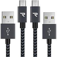 Rampow Câble Micro USB [1m/Lot de 2] - Garantie à Vie - Charge/Synchro Rapide - Câble USB Micro USB Nylon Tressé en Fibre 2.4A pour Samsung S7/S6, Sony, Téléphones Android et Plus - Gris Sidéral