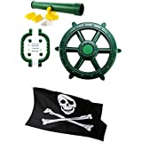 HIKS Products Kids Toy Climbing Frame Accessory Bundle Telescope, Pirate Wheel, Climbing Handles and FREE Pirate Flag also Suitable for Tree Houses, Childrens Play Houses and Dens
