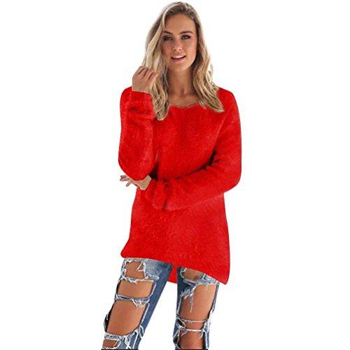 FORH Damen Mode O-Hals Einfarbig warm weich Lange Ärmel Pullover Pullover Bluse (Größe:S/M/L/XL/2XL/3XL)) (M, Rot) (Ärmel Pullover)
