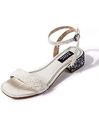 KOKQSX-Estudiante Medio Tacon Sandalias Zapatos de Tacon 4cm Hadas Hebilla.  Treinta y Ocho 41648c70807a