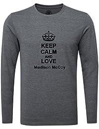 Keep Calm and Love Madison McCoy Luxury Slim Fit Long Sleeve Dark Grey T-Shirt