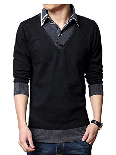 BOMOVO Herren V-Ausschnitt Strickpullover Pullover Gefälschte Zwei Sweatshirt Schwarz