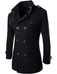 Vktech® Veste en laine de pois d'hiver Manteau Double Boutonnage Trench couches