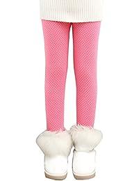 Niña En Mallas Leggings Puntos Elástico Pantalones Plus Espesamiento Leggins Punto Rose 120CM