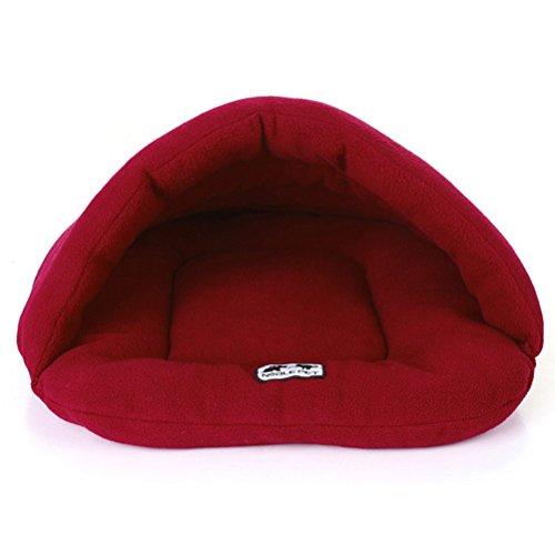 UEETEK Igloo Cuccia Gatto Cane Piccolo Cuscino Letto Sacco a Pelo per Cane Morbido Peluche Cotone Caldo Rosso Scuro L 58 x 68 cm