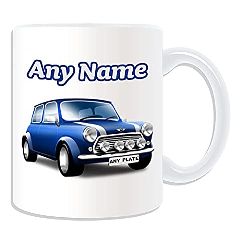 Personalised Gift - Blue Mini Cooper Mug (Transport Design Theme, White) - Any Name / Message on Your Unique - BMW Hatch Convertible Clubman Countryman Coupe Roadster Paceman Vehicle Car Automobile Cute