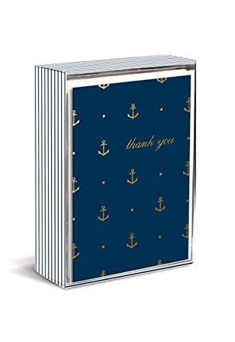 Boxed Notes: Gold Anchors - Gruß- und Geschenkkartenbox mit Kuverts: Goldene Anker