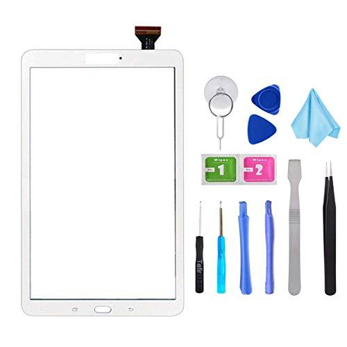 Tefir Bianco Touch Repair Glass per Samsung Galaxy Tab E 9.6 SM-T560 SM-T561 T560 T561 (No LCD) con Adesivo e Strumenti