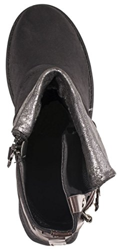 Elara Femmes Biker Bottes   Prints boucles métalliques   Rivets bottes aspect cuir - Schwarz New York