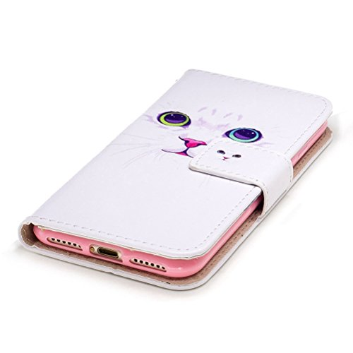 Custodia iPhone 7, Cover iPhone 7, ISAKEN Flip Cover per Apple iPhone 7, Elegante borsa Bookstyle Design Flip Caso in Sintetica Ecopelle PU Pelle Protettiva Portafoglio Wallet Case Cover con Supporto  Gatto bianco