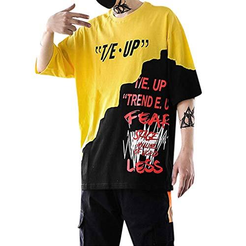 EUZeo Unisex HipHop Stil Patchwork Kurzarm T-Shirt Buchstaben gedruckt Stilvoll Damen Herren Teenagers Kurzärmelig Strassenmode Streetwear Rundausschnitt Sport Bekleidung Sweatshirts Oberteile ()