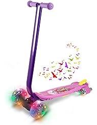 Tomasa Patinete Scooter Freestyle Ajustables 3-Wheel Kick Scooter con Luz LED Ruedas y Música (Púrpura)