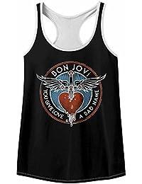 American Classics Bon Jovi Rock Band Badname Black/White Womens Color Trim Racerback Tank Top Tee
