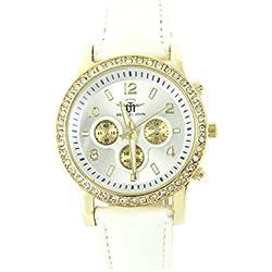 Damen-Armbanduhr Leder Weiß Diamanten CZ Michael John 155