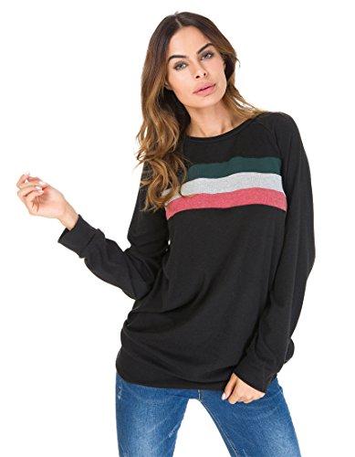 Jusfitsu Damen Casual Langarmshirt Elegant Sweatshirts mit Streifen Lose Oversize Lang Sweatshirt Pullover Tops Schwarz 2