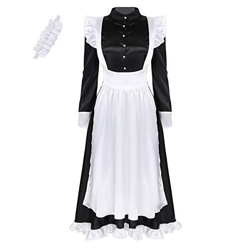Outfit Damen Viktorianischen Kostüm Dienstmädchen - YiZYiF Damen Vintage Dienstmädchen Kostüm Viktorianisch Maid Cosplay Schürze Kleider Partykleid Zimmermädchen Kostüm mit Kopfbedeckung Schwarz XX-Large