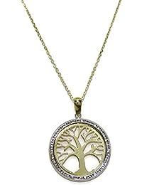 Never Say Never Halskette mit Anhänger, Baum des Lebens, Gelbgold, 18 Karat, mit 43Zirkoniasteinen Never Say Never