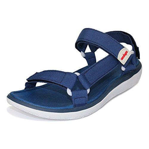 Herren Sandalen, Outdoor Sommer Schuhe Frauen Casual Sandalen Lightweingt Gurtband Walking SandaleEinstellbare Klettverschluss Strap Closure Sport Beach Flachen Wasser Schuhe (37 EU, Blau / Weiß)