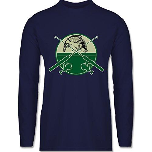 Angeln - Karpfen Fischer - Longsleeve / langärmeliges T-Shirt für Herren Navy Blau