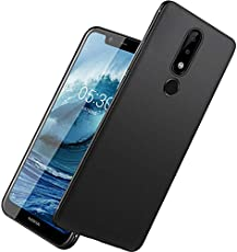 TARKAN Royal Ultra Slim Flexible Soft Back Case Cover for Nokia 6.1 Plus/Nokia 6 Plus [Matte Black] 360 Degree Full Coverage with Camera Protection