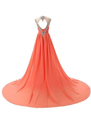 Dressystar Robe de soirée/ de bal à Col en V avec Appliques Décolletée dans le dos,en mousseline Rouge Foncé