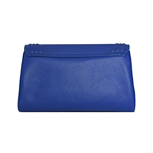 BORGENNI pochette da donna morbida media in vera pelle con tracolla regolabile e rimovibile Blu