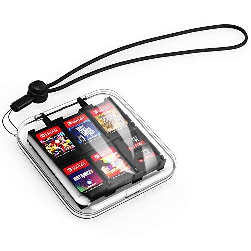 MoKo Caja Protectora para Tarjeta de Juego de Nintendo Switch, Bolsa PC Concha Dura Portátil con 12 Puestos de Cartucho de Juego, Estuche Transparente para Almacenar Game Cards - Claro