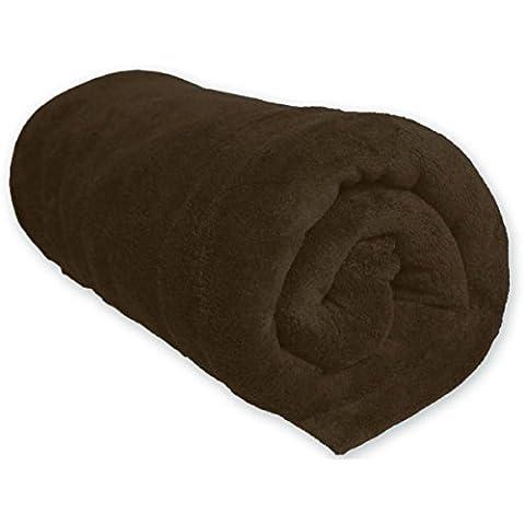 Couverture Polaire 100% Polyester Chocolat 240x220 - Terre de Nuit
