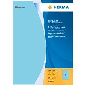 Herma 4483 Haftpapier (Papier matt, 210 x 297 mm) 100 Stück blau