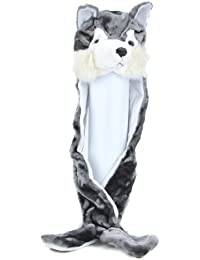 Wolf Long Animal Winter Hat Soft Faux Fur Head Trapper Hat Hood / Scarf / Snood / Gloves all in one Ladies / Men / Kids / Children - Happy Bargains Ltd by Happy Bargains Ltd