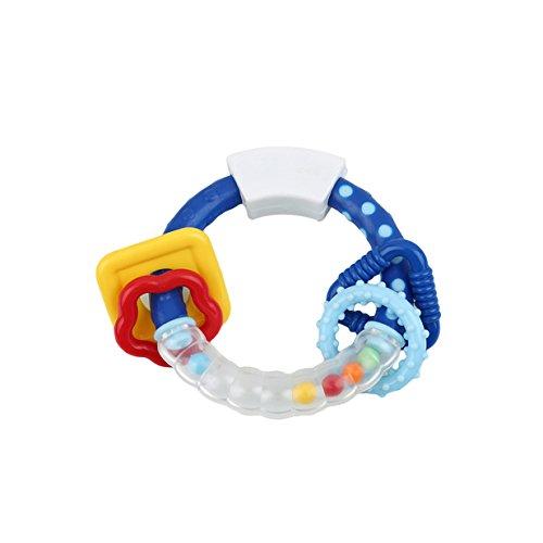 Lalang Baby Rasseln Greiflinge Spielzeug, Baby Besänftige Spielzeug,Sensory Puzzle Beißring Aktivitätsspielzeug (blau)