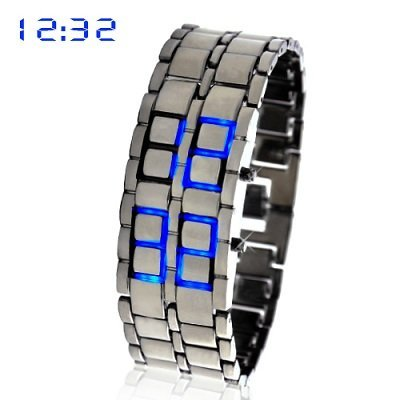 Image of Blue Led Digital Lava Iron Style Metal Sports Watch