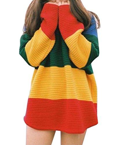 Damen Pullover Strickpulli Bunt Gestreift Pulli Warm Sweater Strickpullover mit Rundhals Ausschnitt und lange Ärmel Winter Herbst (Gestreifter Pullover)