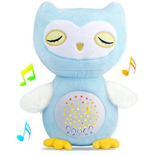 Babyprojektor Baby Mobile Schlaf Schnuller Babyschlafhilfe Eule Stofftier Aktivitätsspielzeug mit Musik Babybett Tonmaschine Baby Shusher Star & Moon Bildprojektor