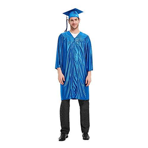 TopTie Toga Laurea e Tocco Cappello Laurea Costume Unisex Set di Laurea cap Abito Nappa 2019 Misura 39 '-63' Blue