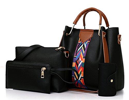 Asge Einfarbig Handtaschen Damen Schultertasche Mode shopper Tragetasche Frauen Lässig Groß Damentaschen Elegant Ümhängetasche Henkeltasche Set 4-teiliges Set
