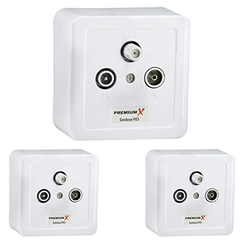 PremiumX 3X PX3 Sat Dose 3-Fach Enddose Antennendose Einzel- und Stichleitungsdose Auf- und Unterputz