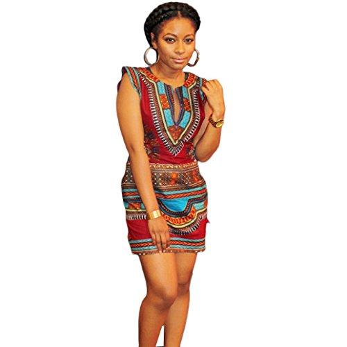 Sannysis Neues Frauen Sommerkleid Beiläufiges Sleeveless Traditionell Afrikanisches Kleider Drucken Party Kleid (XL, Pink) (Mode Afrikanische Kleidung)