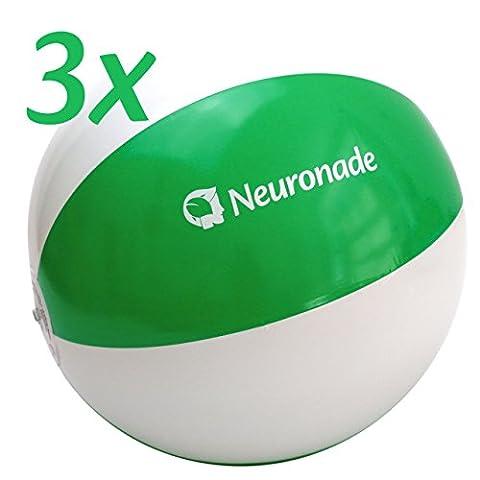 Ballons de plage Neuronade, 25 - 30 cm de diamètre, vert et blanc – Sans phtalates, lot de 3