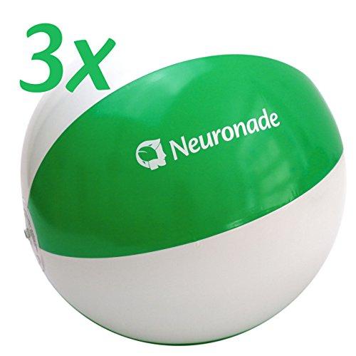 Preisvergleich Produktbild Wasserball 25 - 30 cm Durchmesser von Neuronade, Strandball klein in grün & weiß - Phtalatfreies Wasserspielzeug (3 Wasserbälle)